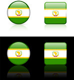 African Union Flag Buttons on White and Black Background