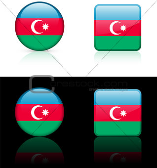 azerbaijan Flag Buttons on White and Black Background