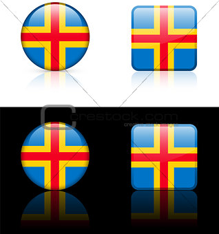 Aland Islands Flag Buttons on White and Black Background