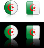 Algeria Flag Buttons on White and Black Background