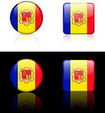andorra Flag Buttons on White and Black Background