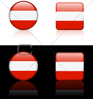 Austria Flag Buttons on White and Black Background