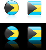 Bahamas Flag Buttons on White and Black Background