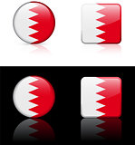 Bahrain Flag Buttons on White and Black Background