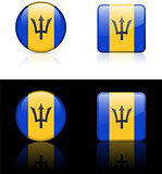 Barbados Flag Buttons on White and Black Background