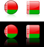 Belarus Flag Buttons on White and Black Background