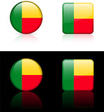 Benin Flag Buttons on White and Black Background