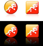 Bhutan Flag Buttons on White and Black Background