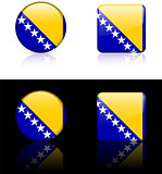 Bosnia Flag Buttons on White and Black Background