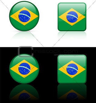 Brazil Flag Buttons on White and Black Background