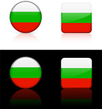 Bulgaria Flag Buttons on White and Black Background
