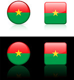 Burkina Flag Buttons on White and Black Background