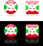 Burundi Flag Buttons on White and Black Background