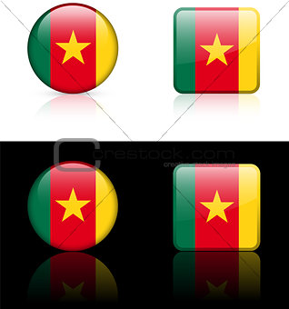 Cameroon Flag Buttons on White and Black Background