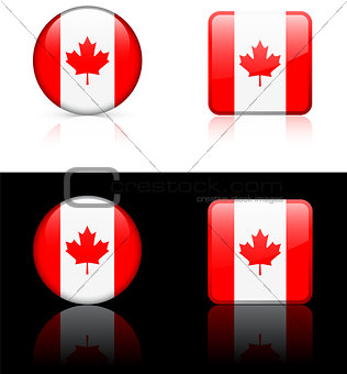 Canada Flag Buttons on White and Black Background