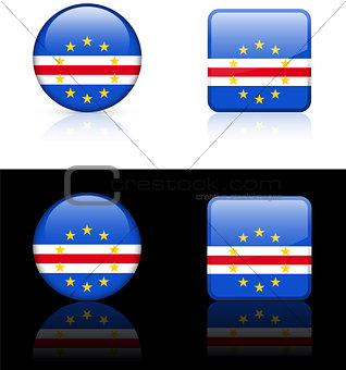 Cape Verde Flag Buttons on White and Black Background