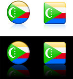 Comoros Flag Buttons on White and Black Background