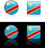 Congo Flag Buttons on White and Black Background