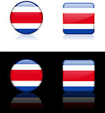 Costa Rica Flag Buttons on White and Black Background