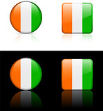 cote d'ivoire Flag Buttons on White and Black Background