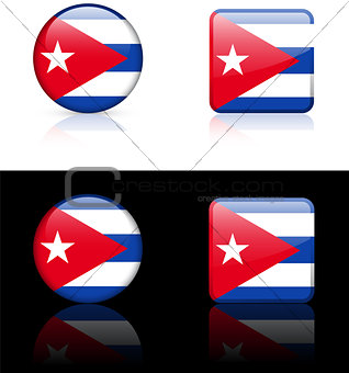 Cuba Flag Buttons on White and Black Background