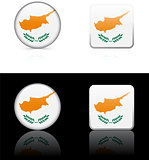 Cyprus Flag Buttons on White and Black Background