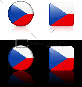 czech republic Flag Buttons on White and Black Background
