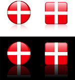 Denmark Flag Buttons on White and Black Background