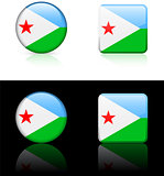 djibouti Flag Buttons on White and Black Background