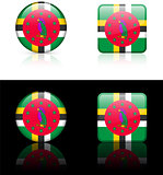 Dominica Flag Buttons on White and Black Background