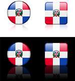 dominican republic Flag Buttons on White and Black Background