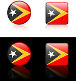 east timor Flag Buttons on White and Black Background