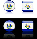 El Salvador Flag Buttons on White and Black Background