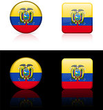 Equador Flag Buttons on White and Black Background