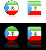 equatorial guinea Flag Buttons on White and Black Background