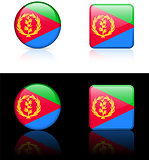 eritrea Flag Buttons on White and Black Background