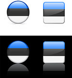 estonia Flag Buttons on White and Black Background
