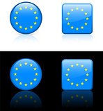 european union Flag Buttons on White and Black Background