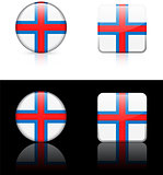 Faroe Islands Flag Buttons on White and Black Background