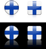 finland Flag Buttons on White and Black Background