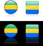 gabon Flag Buttons on White and Black Background
