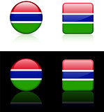 Gambia Flag Buttons on White and Black Background