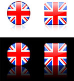 British Flag Buttons on White and Black Background