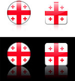 Georgia Flag Buttons on White and Black Background