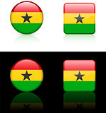 Ghana Flag Buttons on White and Black Background