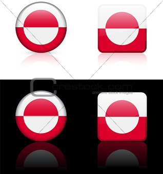 Greenland Flag Buttons on White and Black Background