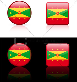 Grenada Flag Buttons on White and Black Background