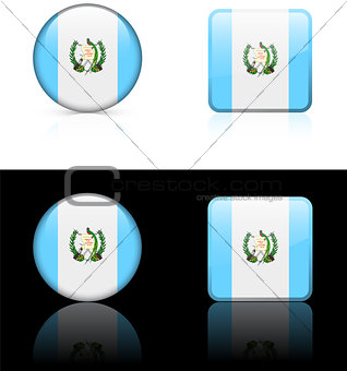 Guatemala Flag Buttons on White and Black Background