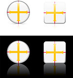 Guernsey Flag Buttons on White and Black Background
