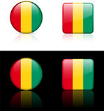 Guinea Flag Buttons on White and Black Background